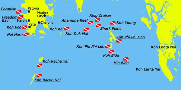 Phuket Divesites Map